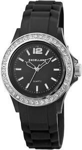 Excellanc-Damenuhr-Schwarz-Analog-Silikon-Strass-Quarz-Armbanduhr-X225881000005