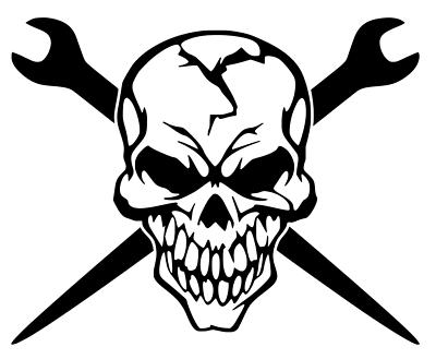 Spud Wrench Skull Vinyl Decal Bumper Sticker Cross