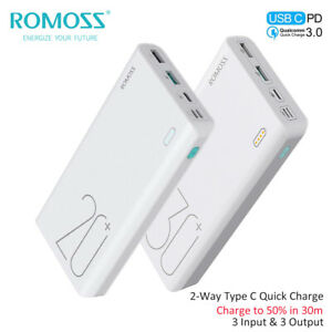 ROMOSS-Power-Bank-QC3-0-USB-C-18W-Charge-Rapide-3USB-Chargeur-Batterie-Externe