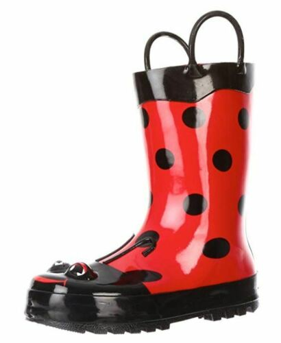 Western Chief Toddler//Little Kids Lady Bug Rain Boots Polka Dots Black//Red #487