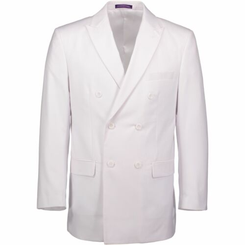 VINCI Men/'s White Double Breasted 6 Button Classic Fit Suit NEW