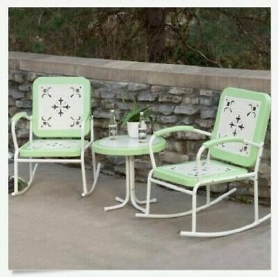 Retro Patio 3 Pc Set Chair Table Rocking Chairs Green Metal Outdoor Furniture 824756003623 Ebay