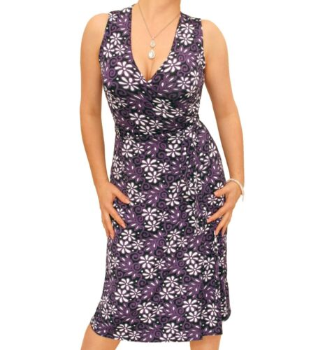 New Floral V Neck Sleeveless Wrap Dress Knee Length
