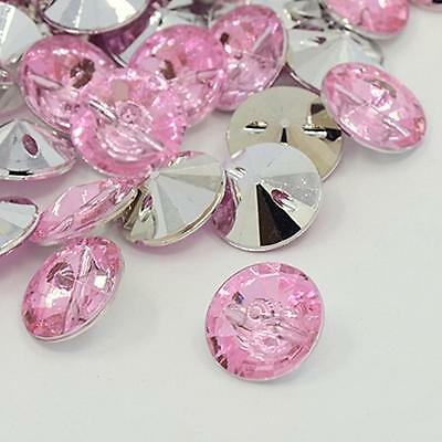 25 Round Acrylic 15mm Crystal Faux Rhinestone Sewing Buttons - Buy 3 Get 1 FREE
