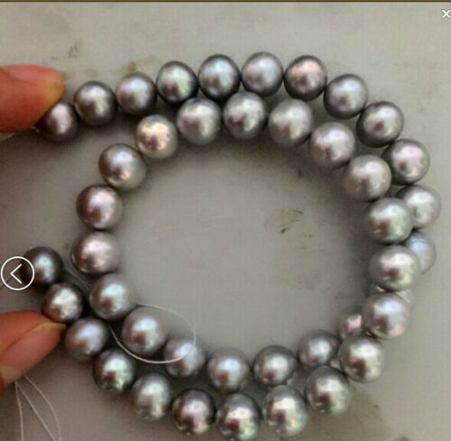 """gorgeous 9-10mm south sea natural silver grey pearl necklace 18/""""14k"""