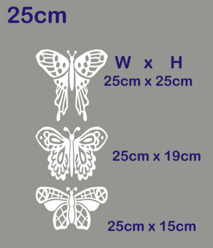 3 Dentelle Aile Papillon Stained Glass Etch Frost Fenêtre Autocollant Decal Conservatoire