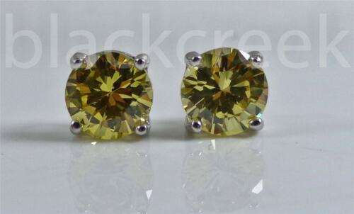 2.00tcw Brilliant Yellow 6mm ~ 925  Silver Basket~Sturdy ~Solitaire Earrings