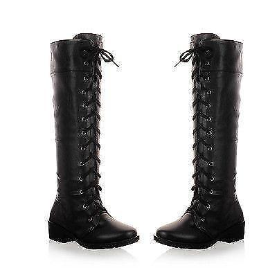 Women/'s Casual lacets et talon bottier Militaire Combat Knee High Riding Knight Boots