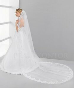 best service 56f70 2c61f Details zu Brautschleier Schleier Spitze Hochzeit 250cm lang Kathedrale  weiß ivory/creme