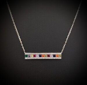 925-Sterling-Silver-Blue-Purple-Amethyst-amp-Multi-Gem-Bar-Pendant-Necklace