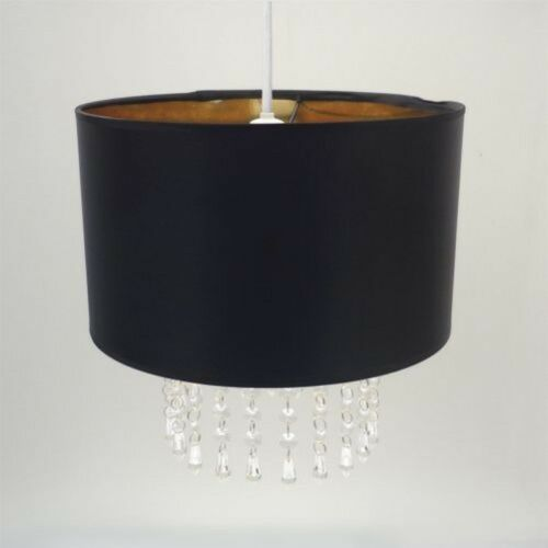 Easy Fit Chandelier Ceiling Pendant Light Shade, Black Gold Light Decoration