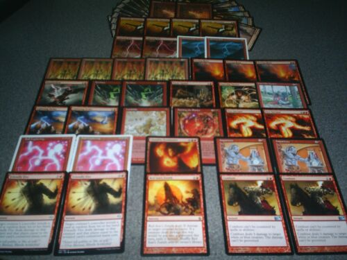 MTG Magic SERIOUS BURN DECK Ball Lightning Bolt Fireblast Searing Blaze Red Lot