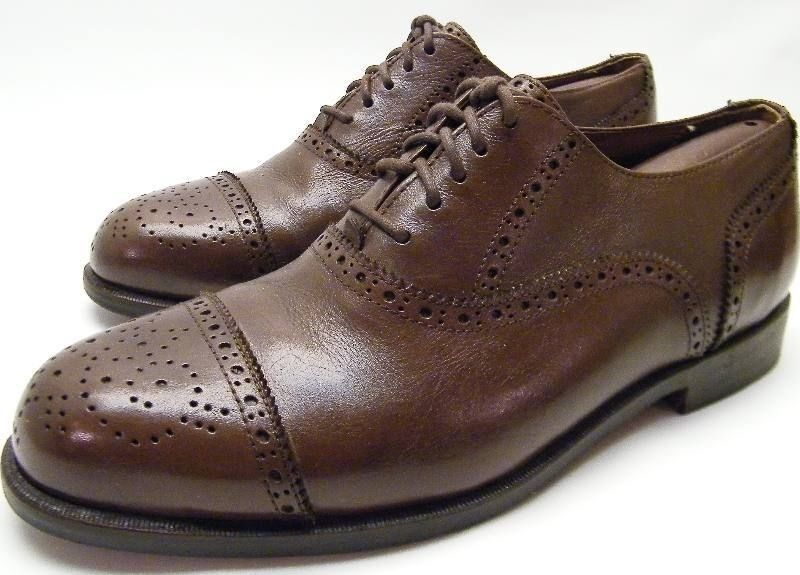 MENS LANDS END braun TAN BROGUE LEATHER CAPTOE OXFORD DRESS schuhe SZ 8 W 8W