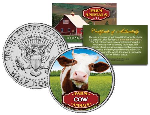 JFK Kennedy Half Dollar U.S Colorized Coin COW Collectible Farm Animals