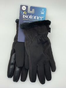 Isotoner-Smart-Dri-Black-Gloves-Womens-Sz-L-XL-Smartouch-Technology-Water-Repel