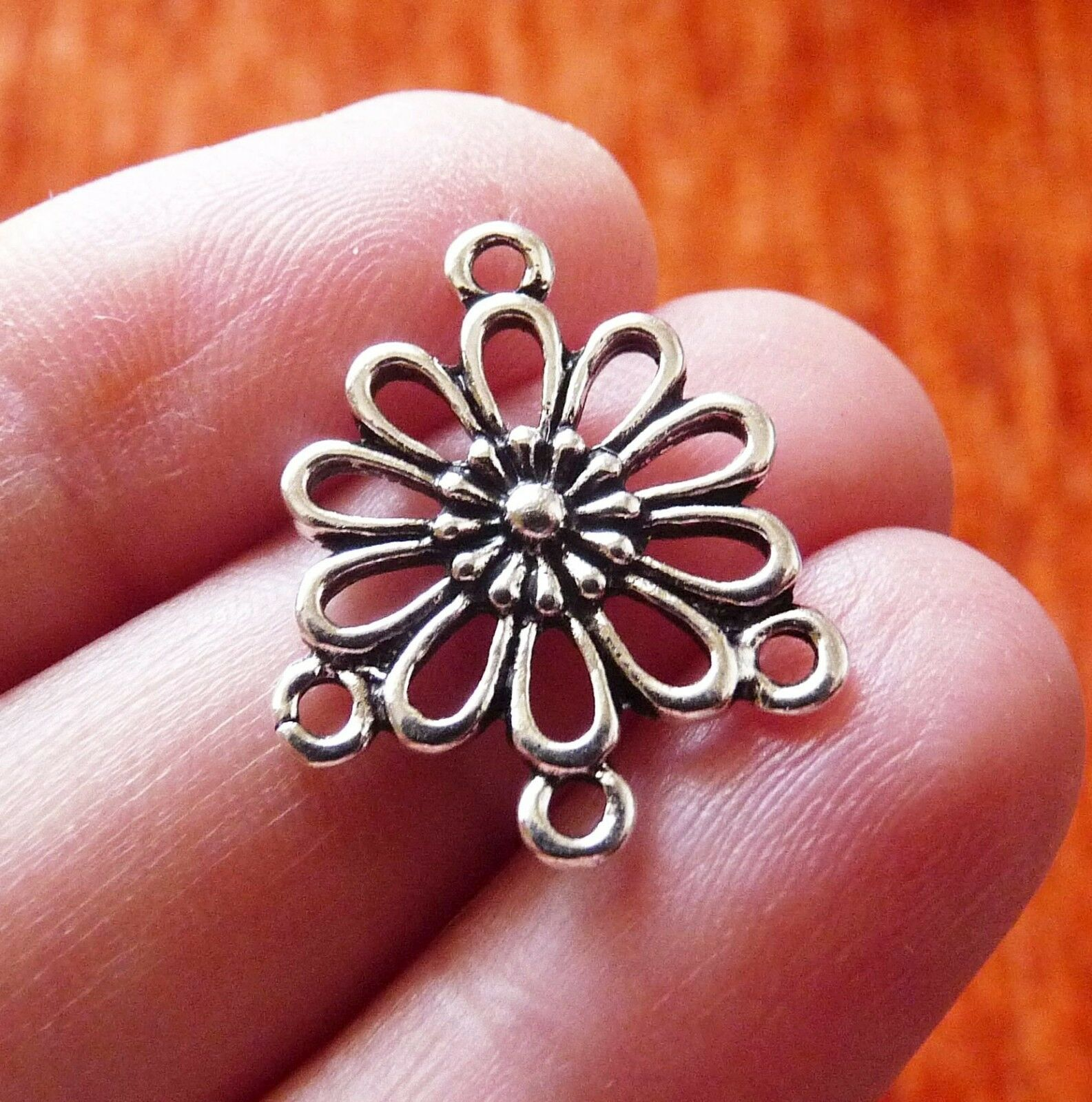 6 Flower Chandelier Earring Finding Necklace Connector Charm for Bracelet Silver