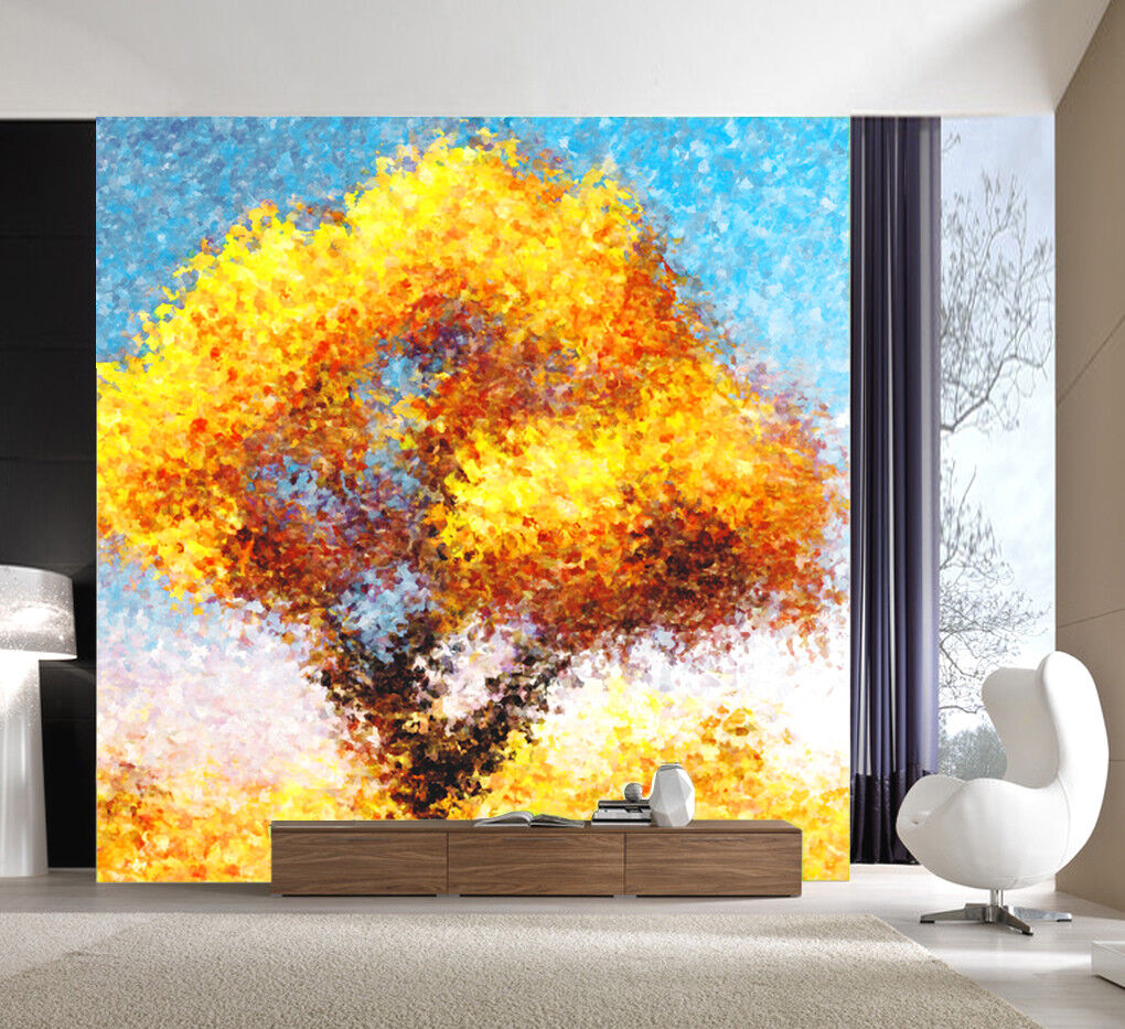 3D Golden Leaf Tree 46  Wall Paper Wall Print Decal Wall Deco Indoor Mural Carly