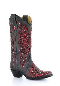 botas Cristal Incrustación Purpurina Mujer Coral Cowboy