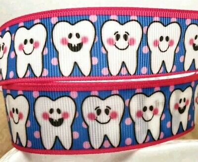 """1/"""" 2 YARDS Lost Tooth Teeth Grosgrain Ribbon Hair Bows Cards Crafts Scrapbooks"""