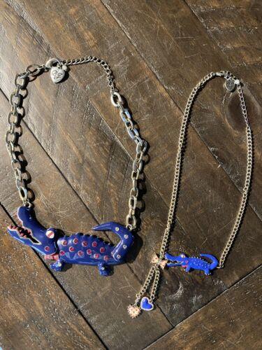 Betsey Johnson Large Blue Alligator Necklace W/ Ma