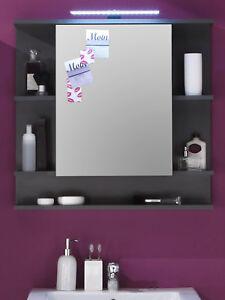 Spiegelschrank Bad Badezimmer Spiegel Schrank Grau 72 Cm Beleuchtung Mobel Tetis Ebay