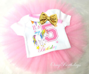 84828d1eb Rainbow Unicorn Pink Gold 5th Fifth Birthday Girl Tutu Outfit Shirt ...