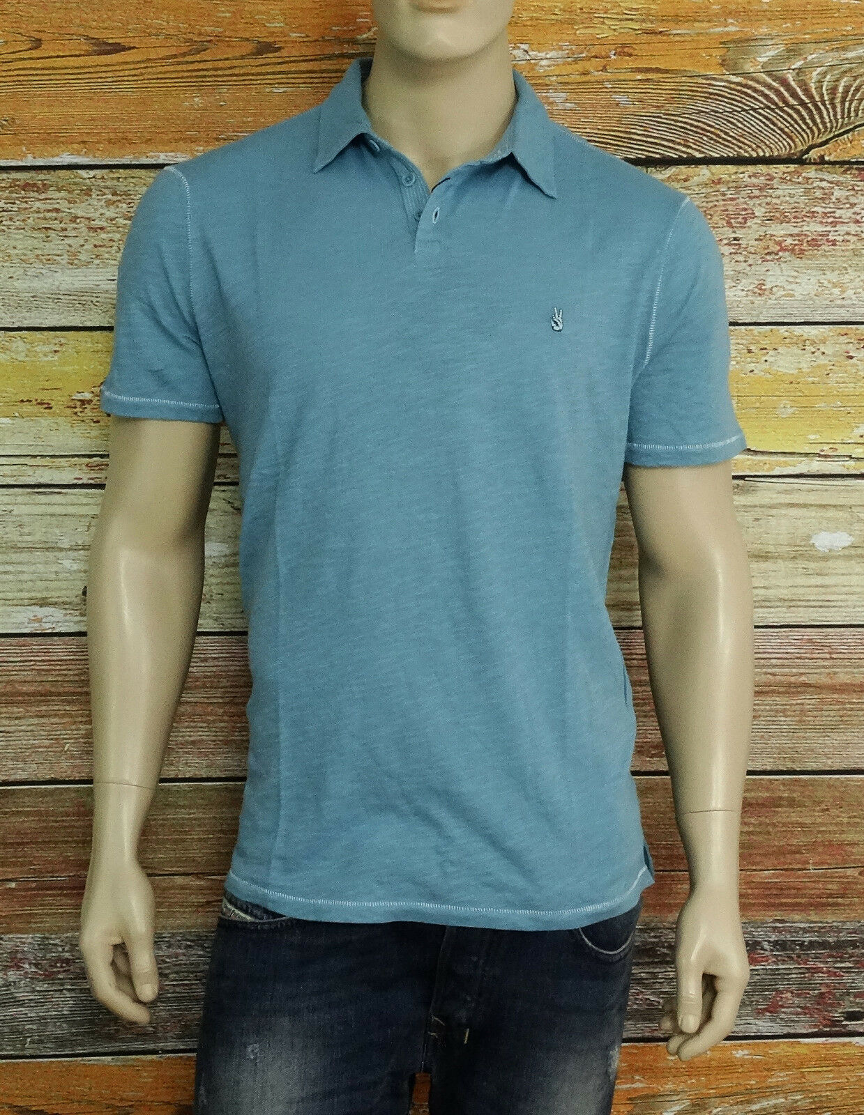 NEW John Varvatos Star USA Polo Shirt in Pale Aqua Size Large NWT 100% Cotton