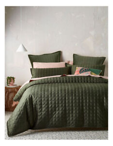Vue Tanami Quilted Quilt Cover Set in Olive