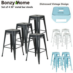 Set-of-4-30-034-Metal-Bar-Stools-Vintage-Distressed-Design-Counter-Barstool-Chairs