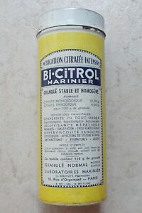 Boite-metal-ancienne-tole-jaune-Bi-Citrol-Marinier-Medication-Pharmacie-Vintage