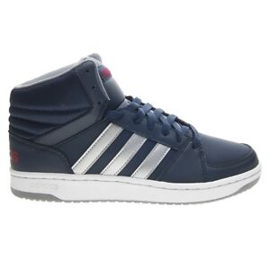 SCARPE ADIDAS HOOPS VS MID alte in pelle uomo blu argento AW4586 nuove 2017