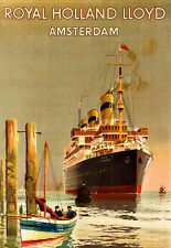 Art Ad Royal Holland Lloyd  Amsterdam  Limburgia  Travel Poster Print