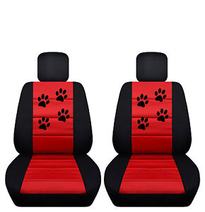 Black Red Paw Print Velvet Seat Covers 2010 To 2016 Dodge