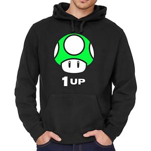 Mushroom-Pilz-1-UP-Gamer-Nerd-Geek-Geschenk-Kapuzenpullover-Hoodie-Sweatshirt