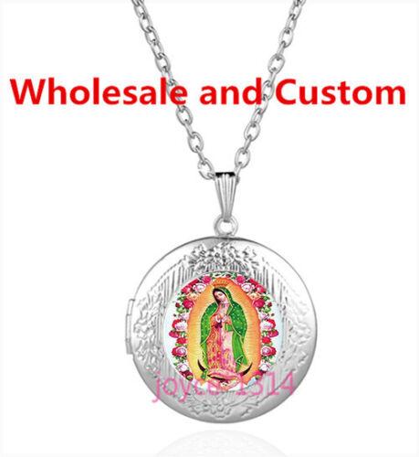 Notre Dame de Guadalupe Cabochon Argent Verre Médaillon Collier Pendentif #4287