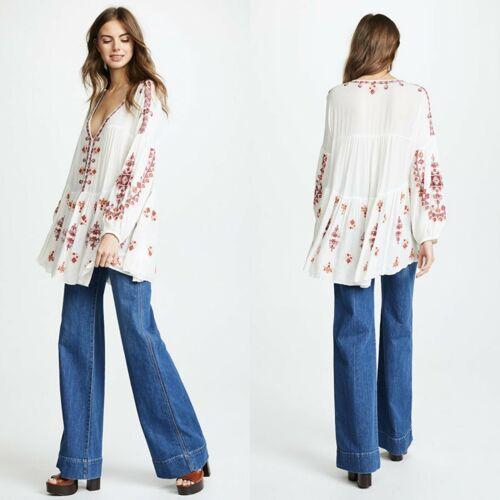 Free People Arianna White Embroidered Tunic Bohemi
