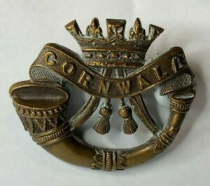 WW1-Duke-of-Cornwall-039-s-Light-Infantry-Officers-Bronzed-Cap-Badge