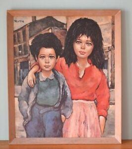 Vintage-Roth-Print-Brother-amp-Sister-Big-eye-art-mid-century-art