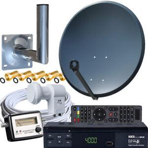 Sat-Anlage-80cm-Schuessel-Satanlage-Wandhalter-HD-Receiver-Satfinder-Twin-LNB-HD