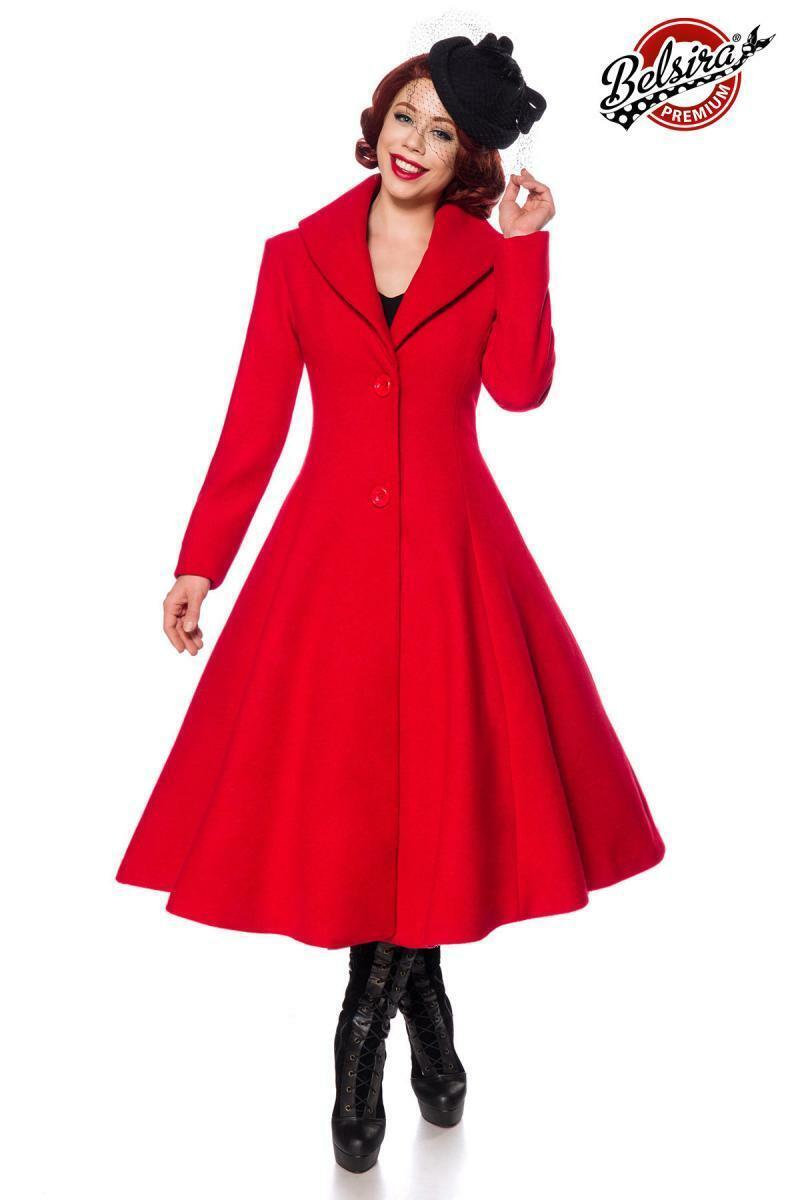 Belsira Damen Mantel Wollmantel tailliert rot 36 38 40 42 44 46 48 Retro Vintage