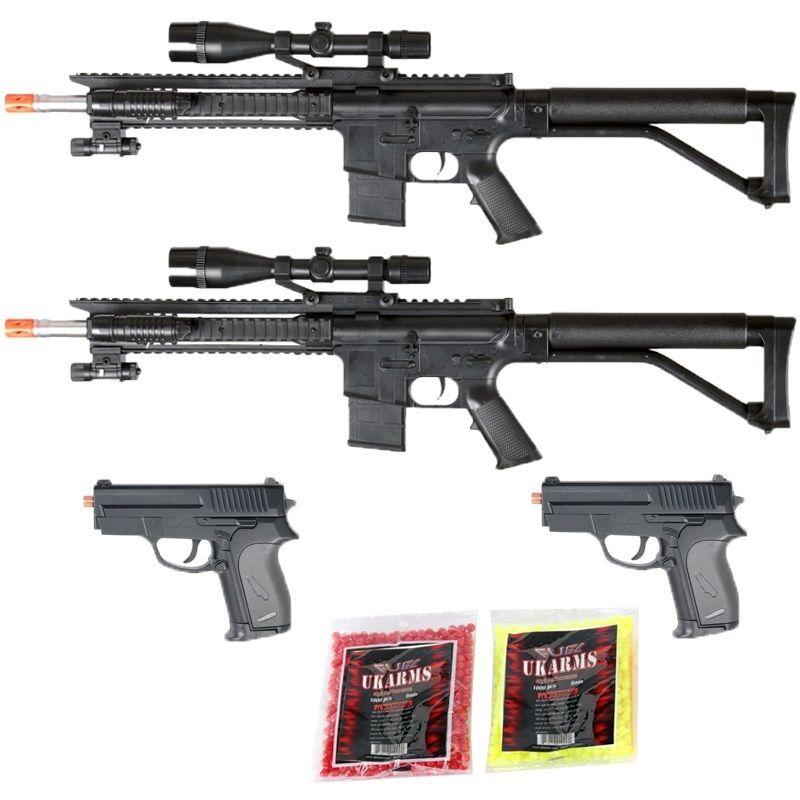 Toy Gun Lot 4 Spring Sniper Rifle Laser and Light Pistol BONUS PISTOLS BBs