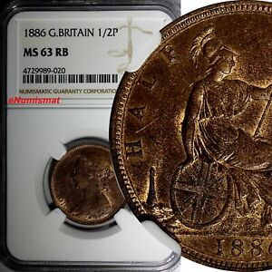 Great-Britain-Victoria-1837-1901-Bronze-1886-1-2-Penny-NGC-MS63-RB-KM-754
