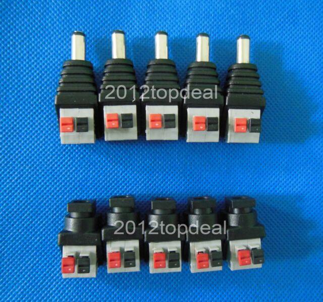 Male female DC low voltage power solderless connectors quick push 5.5 X2.1MM