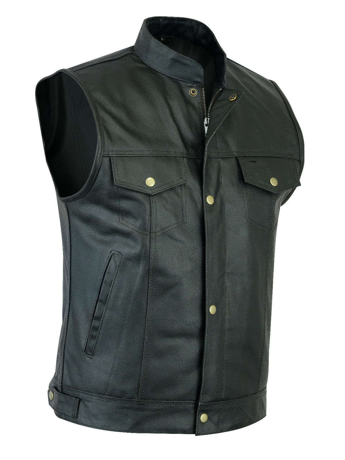 Uomini Sons of Anarchy Gun Tasca Us Stile Stile Us Gilet in Pelle-stile cut off c88317