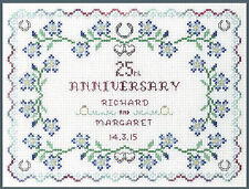 Silver Wedding Anniversary Sampler - Cross Stitch Kit with clear COLOUR chart