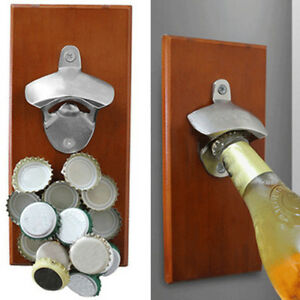 Magnetic-Bottle-Opener-Wall-Mount-Fridge-Magnet-Beer-Cap-Catcher-Tools-Reliable
