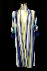NWT-99-CHICOS-0-Striped-Cardigan-Sweater-Open-Front-3-4-Sleeve-Casual-SMALL