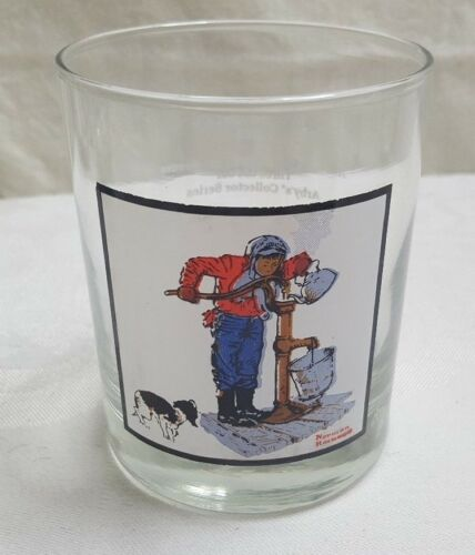1979 NORMAN ROCKWELL Arby's Winter 4 CHILLING CHORE Glass MINT #3 of 4