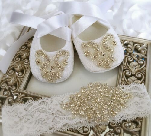 Baby Girl White Christening Baptism Wedding Shoes Rhinestone Lace Headband