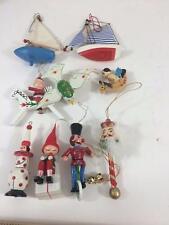 Wooden Vintage Ornament Lot 9 Asst Christmas Nutcracker Santa Sailboats Clown